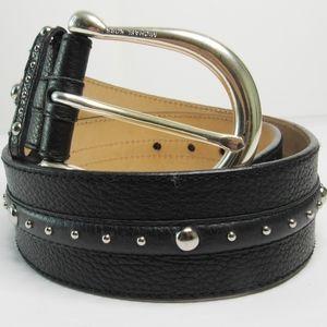 MICHAEL KORS Wide Black/Silver Studded Hip Belt S